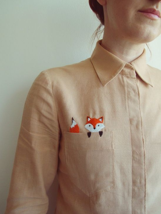 my pocket fox by kelerabeus | Project | Sewing | Embroidery / Shirts, Tanks…
