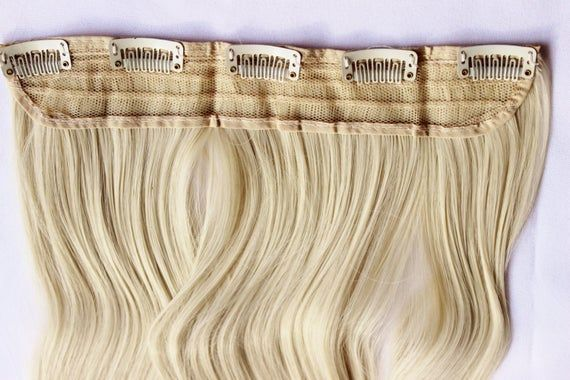 23″ Platinum Blonde Hair Extension, One Piece Multi-Weft Clip in Extension, Clip On Hair Extension,