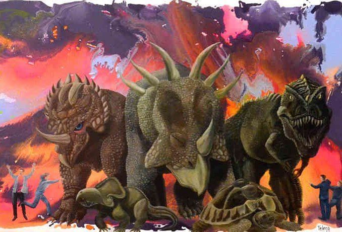 'Invasion' original  #painting by #Yelena - http://ift.tt/2aBU8u2 --- #art #propertstyling #interiorstyling #decorative #interiodesign #bondi #sydney #melbourne #animals #perth #artforsale #livingroom #modernart #gallery #hospitality #illustration #dinasour #surrealism #brisbane #abstractart #artista  #artexhibition