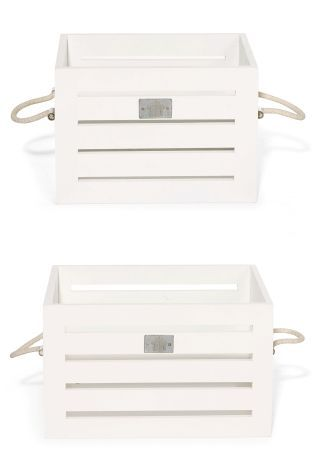 Buy Set Of 2 White Wooden Crates from the Next UK online shop