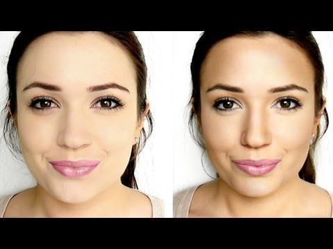 This is the best video I have watched on how to contour your face, and she only uses highlighter, bronzer, and blush and actually tells you how to do it so it looks natural.