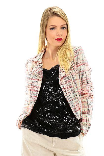 Twin Set Jeans - Giacche - Abbigliamento - Giacca in cotone foderata con zip di chiusura e tasche laterali. - CREMA\BACCA - € 215.00