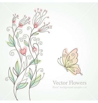 Romantic floral illustration vector