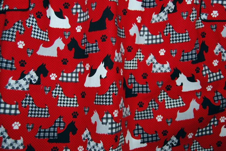 SCOTTIE DOG fabric Scottish Terrier fabric cutter quilt fabric Retrolicious cotton dress fabric by vintageinspiration on Etsy