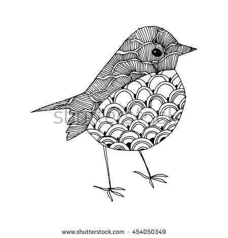 Cartoon birds. Stylized birds. Line art. Black and white drawing by hand. Doodle. Zentangle. Tattoo.