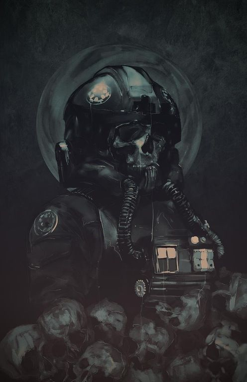 TIE pilot surrounded by skulls. Art by Rola Rafal. : StarWars