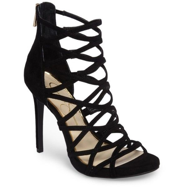 Women's Jessica Simpson Razella Cage Sandal ($98) ❤ liked on Polyvore featuring shoes, sandals, black suede, black sandals, criss cross strap sandals, black strap sandals, criss-cross sandals and black strappy sandals