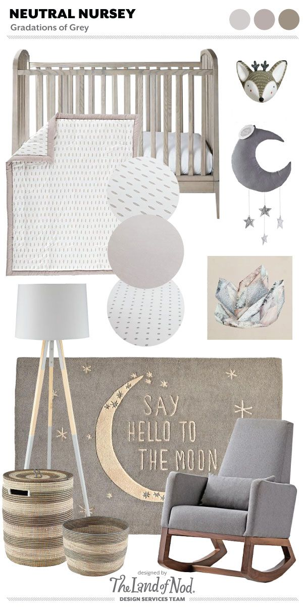 When designing with a gender neutral grey nursery, use gradations of grey. Grey is a gender neutral hue and a perfect foundation color for any space.