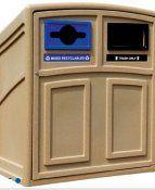 Estación de Reciclaje 2 puertas, un contenedor para basura y otros para reciclaje, 100 litros cada contenedor.