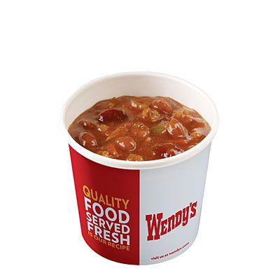 Forced to fall back on fast food? Our expert recommends a large chili from Wendy's—just 310 calories, plus 26 grams of protein and 10 grams of fiber!