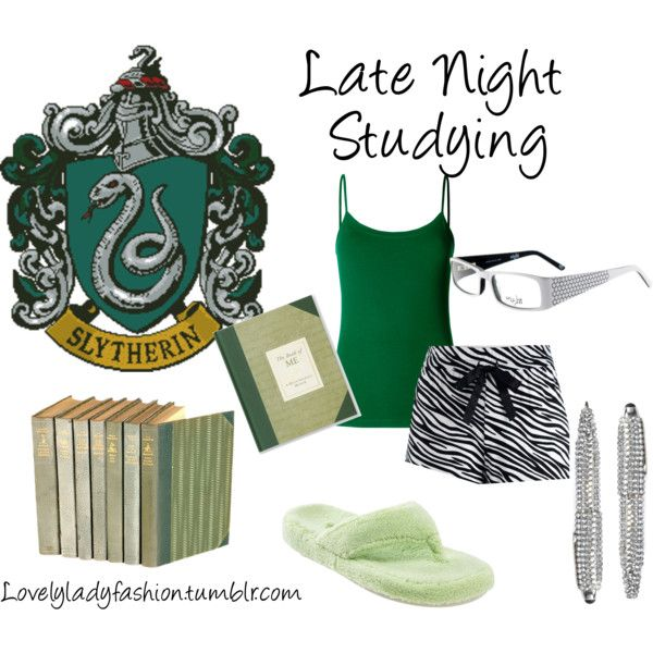 """Slytherin Late Night Studying"" by sad-samantha on Polyvore"