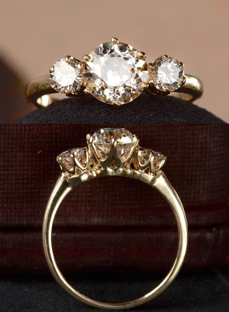 An unusually minimal and elegant 1950s engagement ring with an older 1.25 carat…