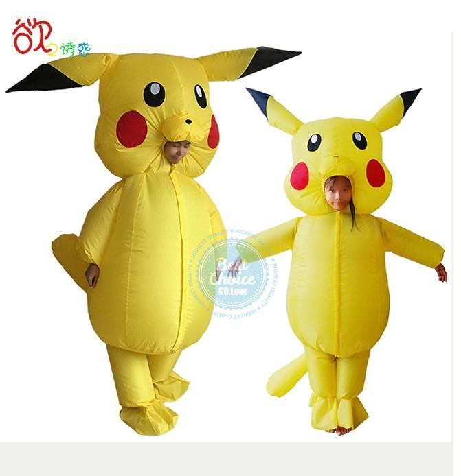2017 NEW Pikachu Costume for Kidns and Adult Pokemon Inflatable Costume Cosplay for Halloween Mascot In Holiday Wedding Party