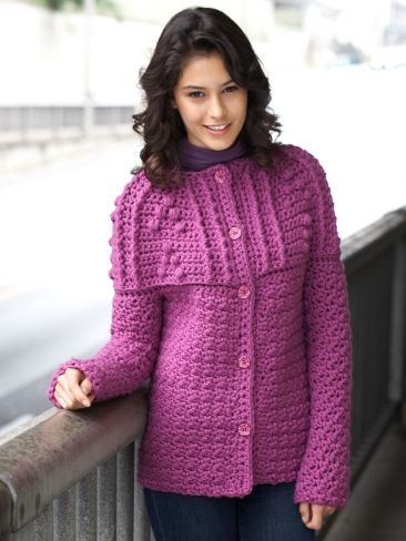 Free Pattern - An elegant textured yoke adds sophistication to this pretty #crochet cardigan. Shown in Bernat Softee Chunky.