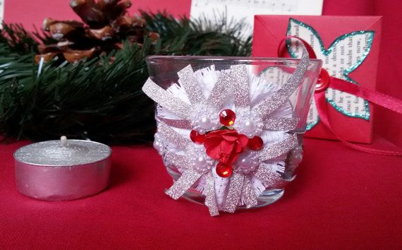 Glass candle holder Christmas decor idea Christmas by Rocreanique