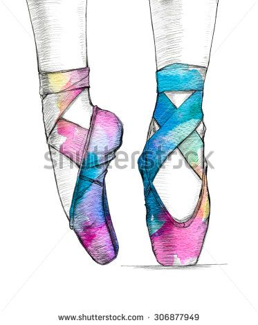 Hand-drawn illustration of ballerina's feet in dancing ballet shoes. Pointe shoes are painted with colored splash watercolor. Illustration isolated on white background.