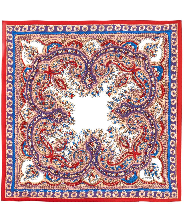Red Floral Paisley Print Silk Pocket Square, Etro. Shop the latest scarves from the Etro collection online at Liberty.co.uk
