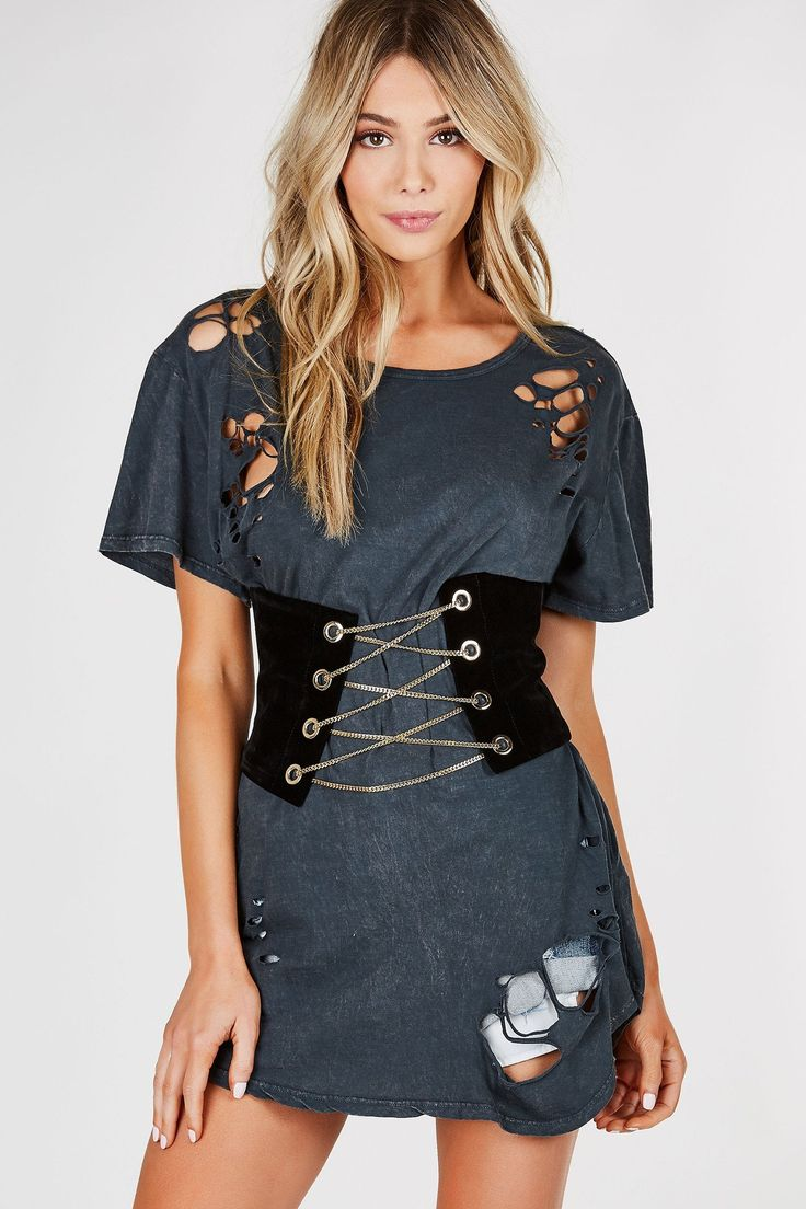 Wide waist belt with soft velvet-like finish. Gold hardware lace up chain with eyelet detailing and back zip closure. - 100% Polyester - Imported - Model is wearing size XS - Runs true to size - Hand