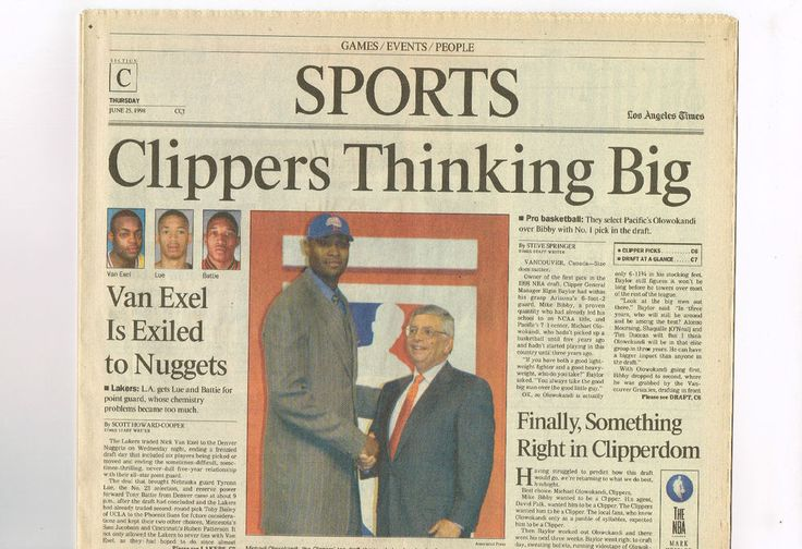 1998 June 25, Los Angeles (LA) Times Newspaper, Clippers Olowokandi Draft