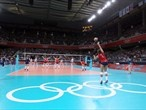 Savanah Leaf of Great Britain serves the ball during the women's Volleyball