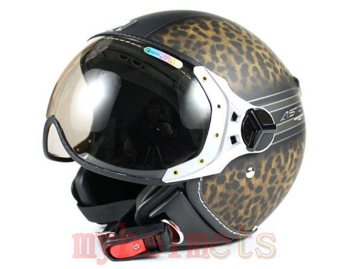Pilot style demi-jet DOT Helmet for Motorcycle scooter moto Leopard (ASTONE) in…