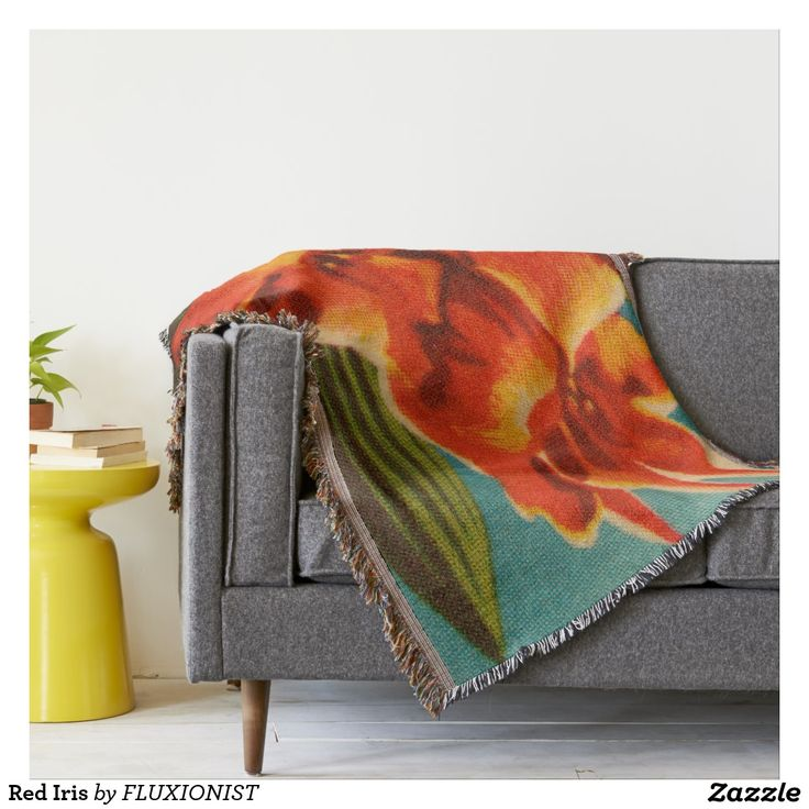 Red Iris Throw - $82.40 Made by Zazzle Home / Design: Fluxionist