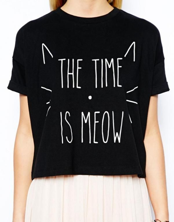 """Crop Top """"The Time is Meow"""" - L - NOWY"""
