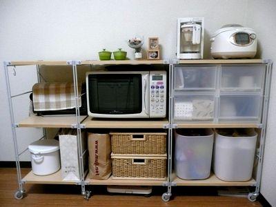 キッチンのスチールユニットシェルフ   omin simple life