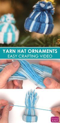 Yarn Hat Holiday Ornaments: Free Easy Craft Video Tutorial with Studio Knit #christmas #yarn #ornament via @StudioKnit