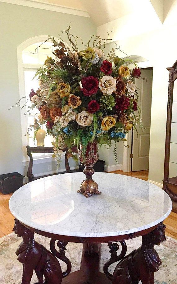 Floral Arrangement Xl Elegant Large Tuscan Floral Centerpiece Shipping Included D Large Floral Arrangements Tall Floral Arrangements Home Floral Arrangements
