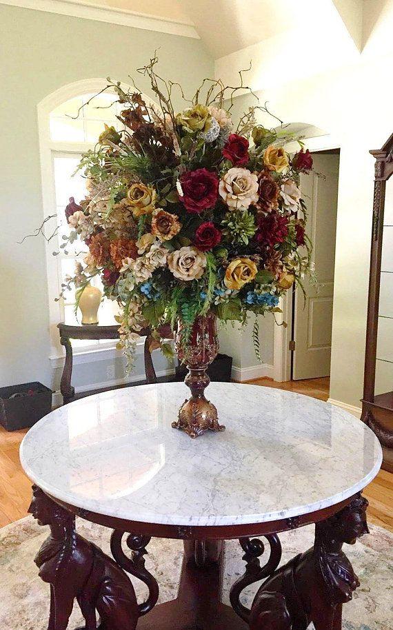 Floral Arrangement Xl Elegant Large Tuscan Floral Centerpiece Shipping Included D Large Floral Arrangements Tall Floral Arrangements Home Floral Arrangements