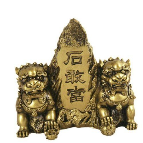 Hong Tze Collection-Brass Color Front Gate Fu Dogs by Asian Home