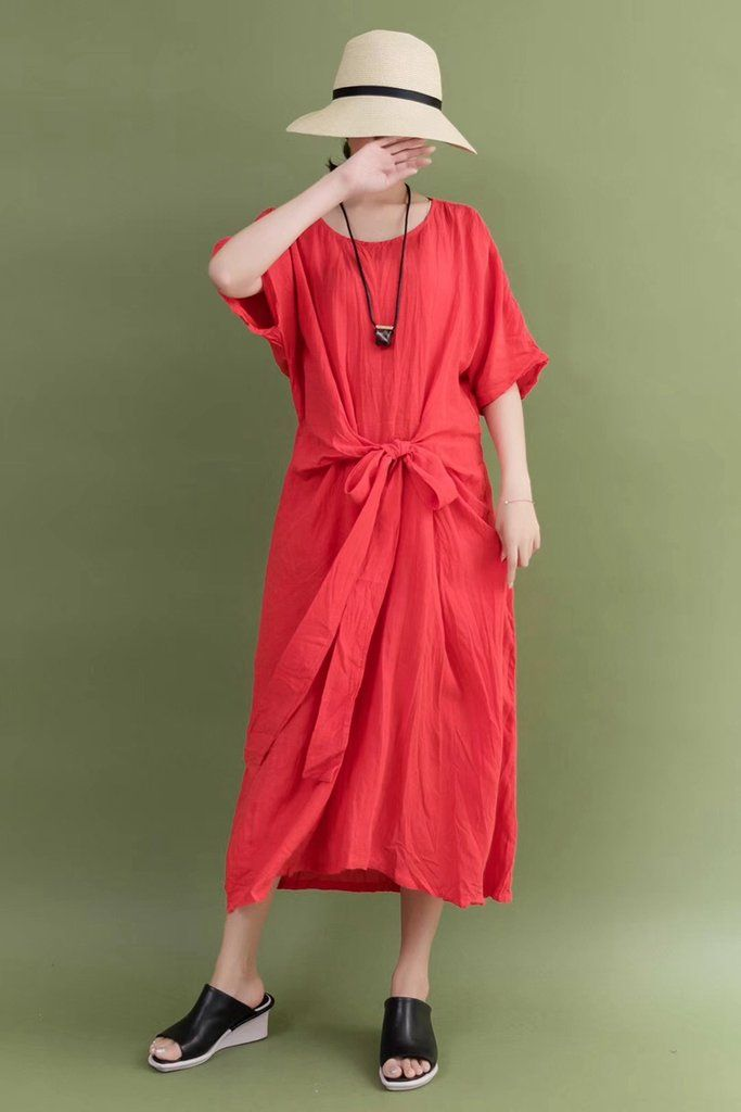 21707e8cc4e4 Summer Linen Red Bow Waist Plus Size Casual Loose Fitting Long Maxi Dresses  For Women