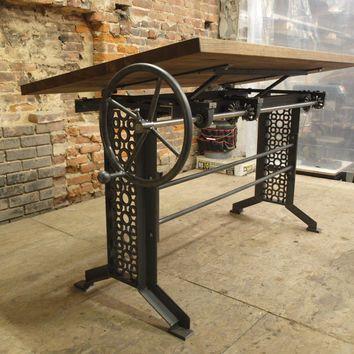 Oak Industrial Drafting table desk