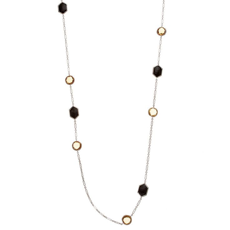 """Siri USA by TJM Sterling Silver Silver Yellow Quartz & Onyx Long Necklace, Women's, Size: 30"""", multicolor"""