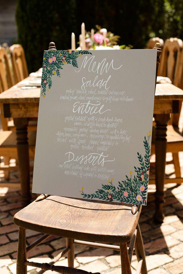 botanical inspired wedding sign, photo by Starfish Studios http://ruffledblog.com/tuscany-inspired-wedding-ideas #weddingmenu #signs