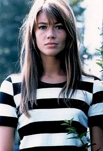 Françoise Hardy in classic Parisienne stripes.