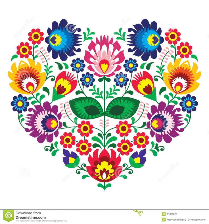 Polish Olk Art Art Heart Embroidery With Flowers - Wzory Lowickie - Download From Over 36 Million High Quality Stock Photos, Images, Vectors. Sign up for FREE today. Image: 41331024