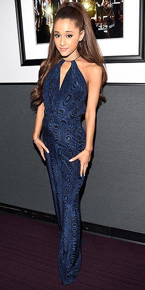 Last Night's Look: Love It or Leave It? | ARIANA GRANDE | in an abstract print blue and black halter gown and signature high ponytail at the Stevie Wonder: Songs In The Key Of Life – An All–Star GRAMMY Salute in L.A.