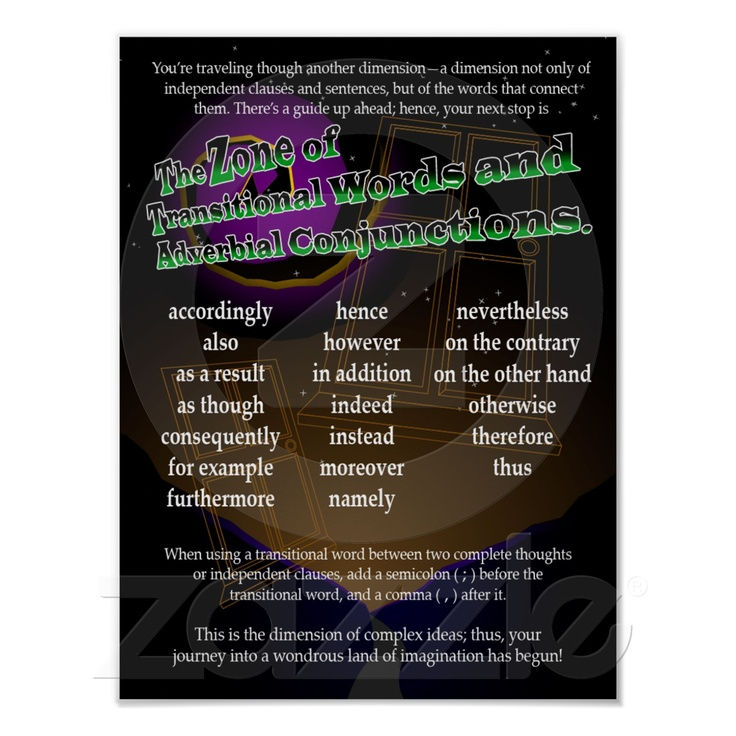Transitional Words and Adverbial Conjunctions Print from Zazzle.com