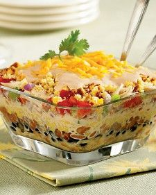 southwestern chicken and cornbread salad. I would cut chicken into bite sized pieces and mix ranch dressing from scratch with the recipe on the dry package instead of using bottled dressing: Chicken Salad, Southwest Chicken, Pinto Beans, Cornbread Muffins, Cornbread Salad Recipes, Chicken Cornbread, Southwestern Chicken, Favorite Recipe, Recipes Salad