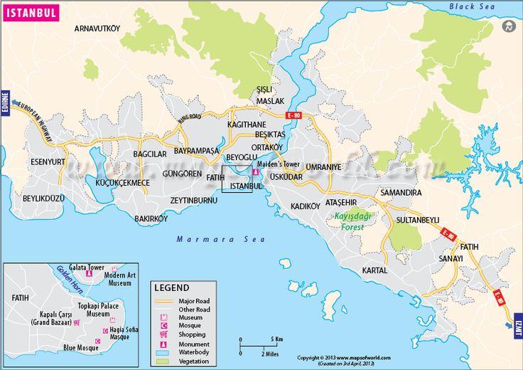 Istanbul city map - http://www.mapsofworld.com/turkey/istanbul-map.html