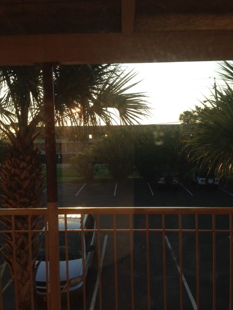 Jekyll Island - view of the ocean through the windows of the motel across the street.