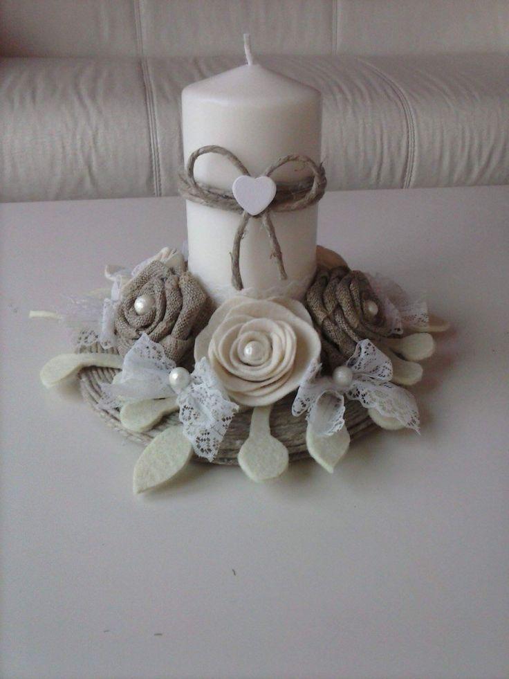 @candele decorate,feltro e pannolenci