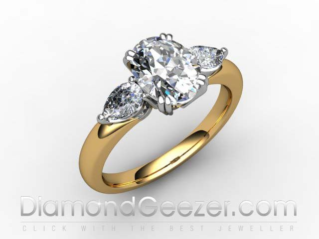 Oval Cut Centre Stone Trilogy Ring in 18ct Hallmarked Yellow Gold. Ring I.D. 03-2833-2304
