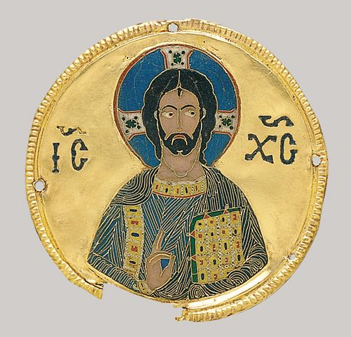 Medallion with Christ from an Icon Frame, ca. 1100....Byzantine; From the Djumati Monastery, Georgia (now Republic of Georgia); Made in Constantinople  Cloisonné enamel, gold