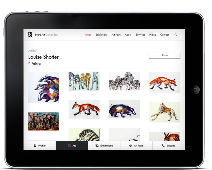 Responsive website - shown on iPad - for Byard Art. #art #design #website #digital