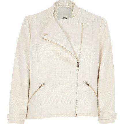 Cream boucle biker jacket €75.00