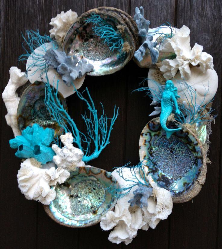 /\ /\ . http://www.etsy.com/listing/152146929/abalone-aqua-and-blue-coral-wreath?ref=listing-shop-header-2
