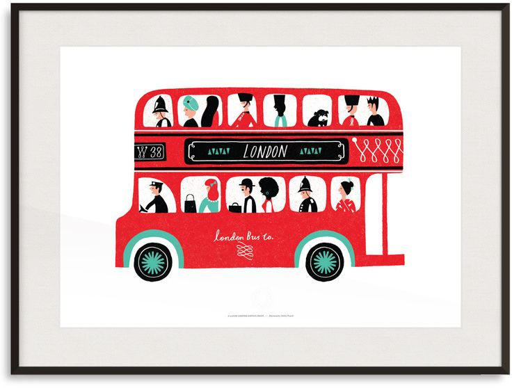 London Bus Print By Debbie Powell | Lagom Design